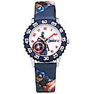 Disney 迪士尼漫威系列美國隊長分鐘轉盤兒童卡通皮革手錶-白x藍/31mm