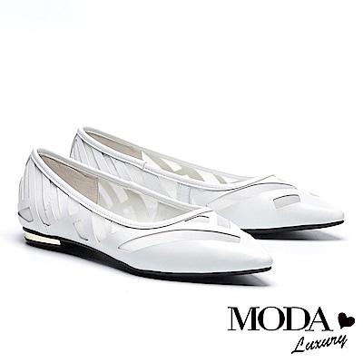 平底鞋 MODA Luxury 唯美透膚拼接網布尖頭平底鞋-白