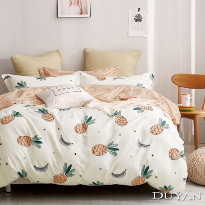 DUYAN竹漾 100%精梳純棉 單人三件式舖棉兩用被床包組-甜蜜菠蘿 台灣製