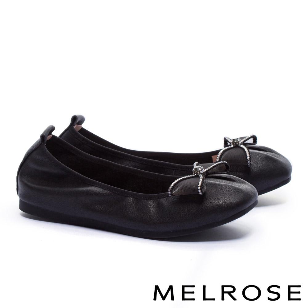 娃娃鞋 MELROSE 氣質甜美水鑽蝴蝶結網紗全真皮娃娃鞋-黑