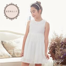 Annys安妮公主-白色奶油派-線條裝飾蕾絲風琴百褶背心洋裝*8126白