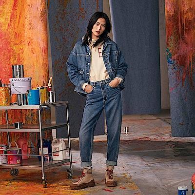 Levis Red 工裝手稿風復刻再造 女款 工裝牛仔外套 Oversize寬鬆版型 中藍水洗 寒麻纖維