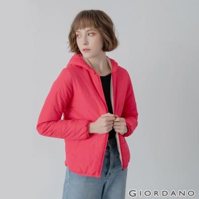 GIORDANO 女裝鋪棉連帽外套 - 28 玫瑰亮紅