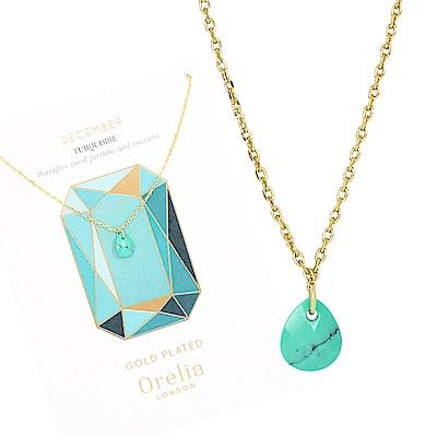 Orelia英國品牌 十二月綠松石誕生石金色項鍊