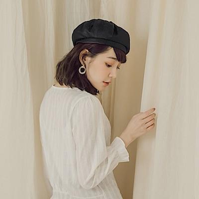 質感純色軟皮貝蕾帽-OB大尺碼