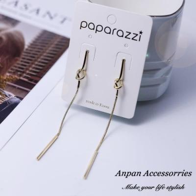 【Anpan 愛扮】韓東大門INS極簡風金屬打結長款925銀針耳釘式耳環-金