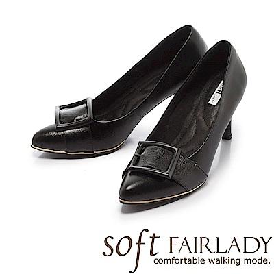 Fair Lady Soft芯太軟 時髦黑框尖頭高跟鞋 黑