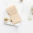 ICONIC職人風簡約純色皮革筆袋-恬靜駝粉