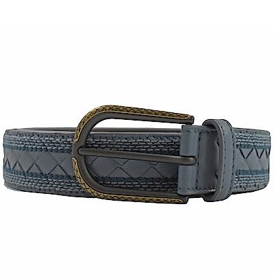BOTTEGA VENETA編織皮革波希米亞風格裝飾皮帶(灰藍色)