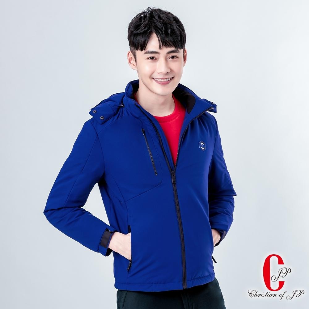 Christian  抗寒帽可拆舖棉外套_亮藍(KW809-55)