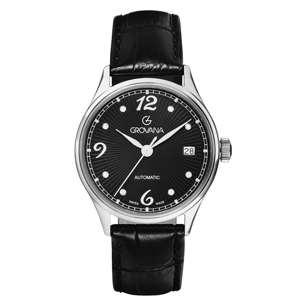 (福利品) GROVANA瑞士錶 自動機械女錶(3190.2534)-黑面x黑皮帶/35mm