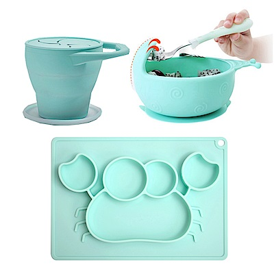 EXPECT 矽膠幼兒學習餐具組(零食杯+螃蟹餐盤+蝸牛碗)