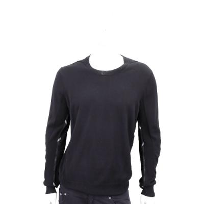 BURBERRY 格紋細節設計美麗諾套頭羊毛衫(男款/黑色)