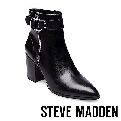STEVE MADDEN-JOHANNAH經典時尚尖頭美型粗跟靴-黑色