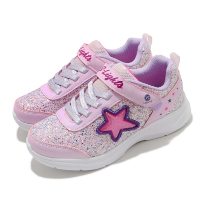 Skechers 休閒鞋 S Lights-Glimmer Kicks 童鞋 星星 魔鬼氈 發光 閃燈 小朋友 粉 紫 302310LPKLV