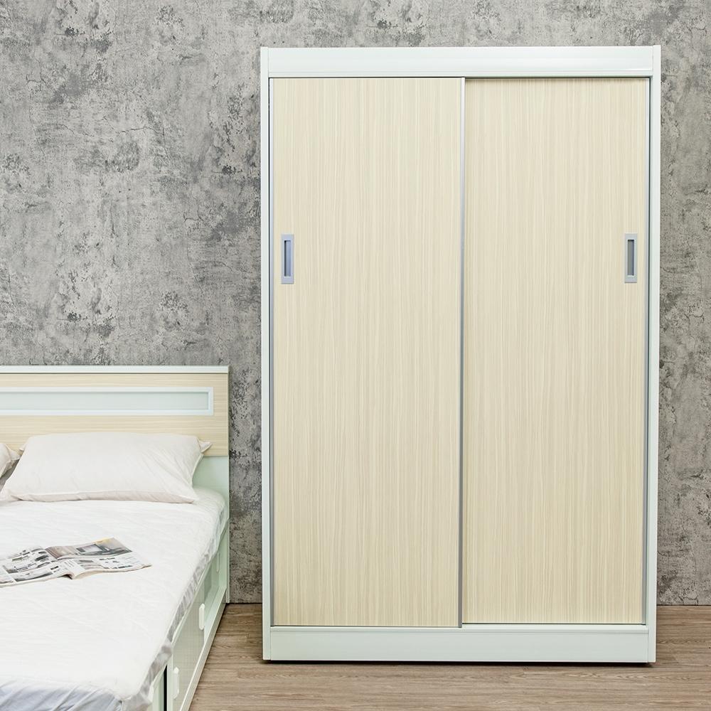 Birdie南亞塑鋼-4.2尺拉門/推門塑鋼衣櫃(黃橡木色)-126x61x200cm