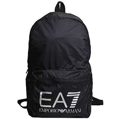 EMPORIO ARMANI EA7品牌圖騰LOGO尼龍尼龍後背包(黑)