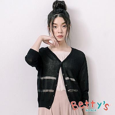 betty's貝蒂思 條紋開襟透膚針織罩衫(黑色)