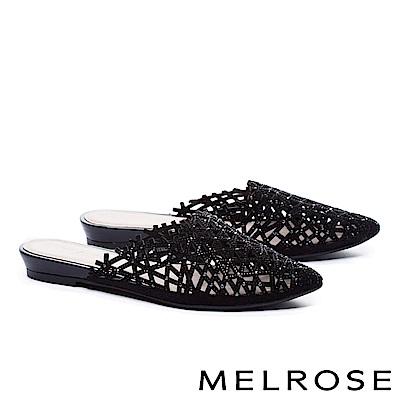 拖鞋 MELROSE 奢華自信晶鑽沖孔尖頭低跟拖鞋-黑