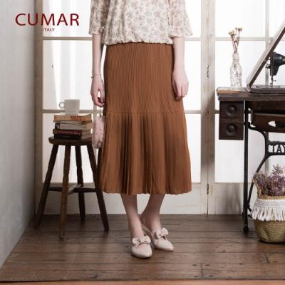 【CUMAR】剪接造型壓褶-裙子(二色)