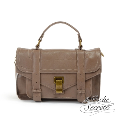 La Poche Secrete側背包 簡約羊皮仿舊金屬釦手提斜側背包-氣質藕