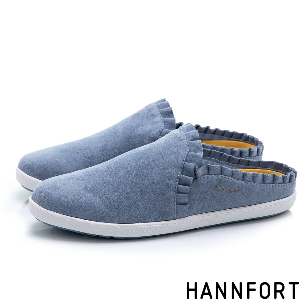 HANNFORT CALIFORNIA 荷葉滾邊休閒穆勒鞋-女-藍(8H)