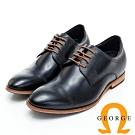 GEORGE 喬治皮鞋 內增高系列-經典漸層打洞設計真皮紳士皮鞋-黑色