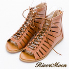 River&Moon大尺碼-個性簍空多層次綁帶羅馬涼鞋-棕