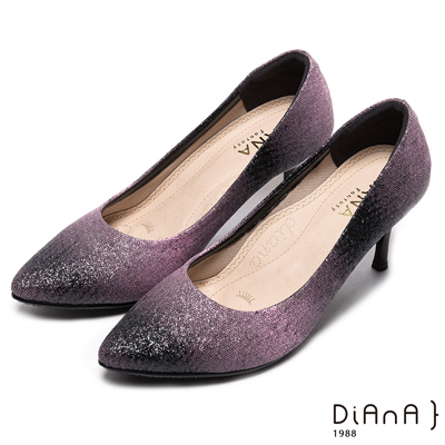 DIANA 漫步雲端焦糖美人款-奢華時尚金蔥耀眼跟鞋-黑