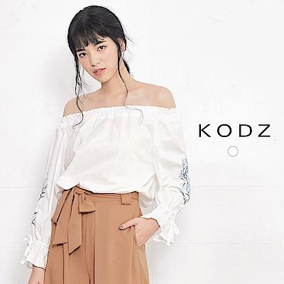 東京著衣-KODZ 歐美刺繡袖口綁帶平口襯衫-S.M(共一色)
