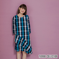 YVONNE泡泡格紋不對稱下擺洋裝- 藍