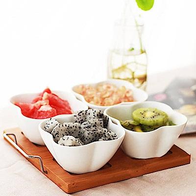Homely Zakka 陶瓷花型深碗/點心碗四入+提把竹托盤5件組
