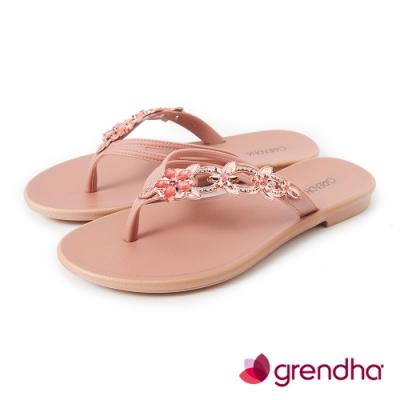 Grendha 花卉寶石時尚夾腳鞋-玫瑰粉