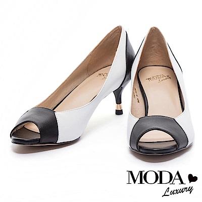 跟鞋 MODA Luxury 知性魅力撞色拼接魚口羊皮低跟鞋-白