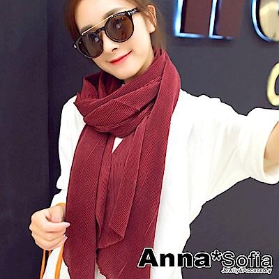 AnnaSofia 彈性波浪壓摺 拷克邊圍巾披肩(酒紅色)