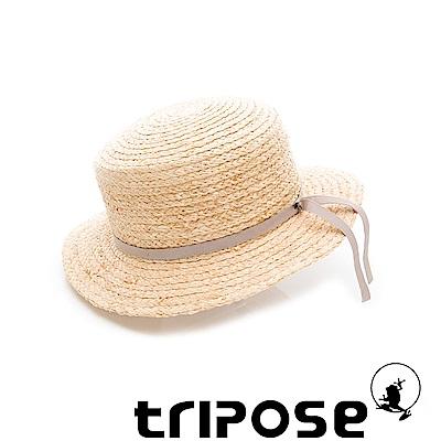 tripose 甜美簡約-100% Raffia入門款平頂細飾帶草帽(飾帶-灰色)