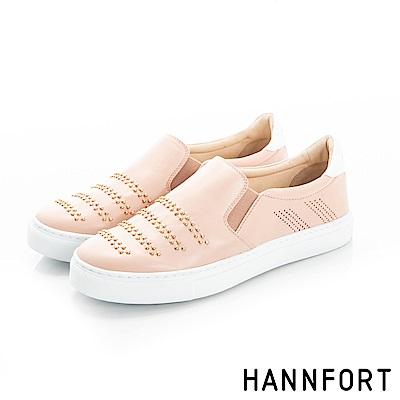 HANNFORT CAMPUS優雅鉚釘休閒鞋-女-柔膚粉