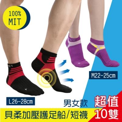 [時時樂限定] 貝柔MIT輕量足弓護足運動襪-男女款(10雙組)