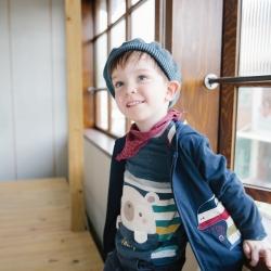 PIPPY  可愛小熊剪接條紋長袖上衣 丈青