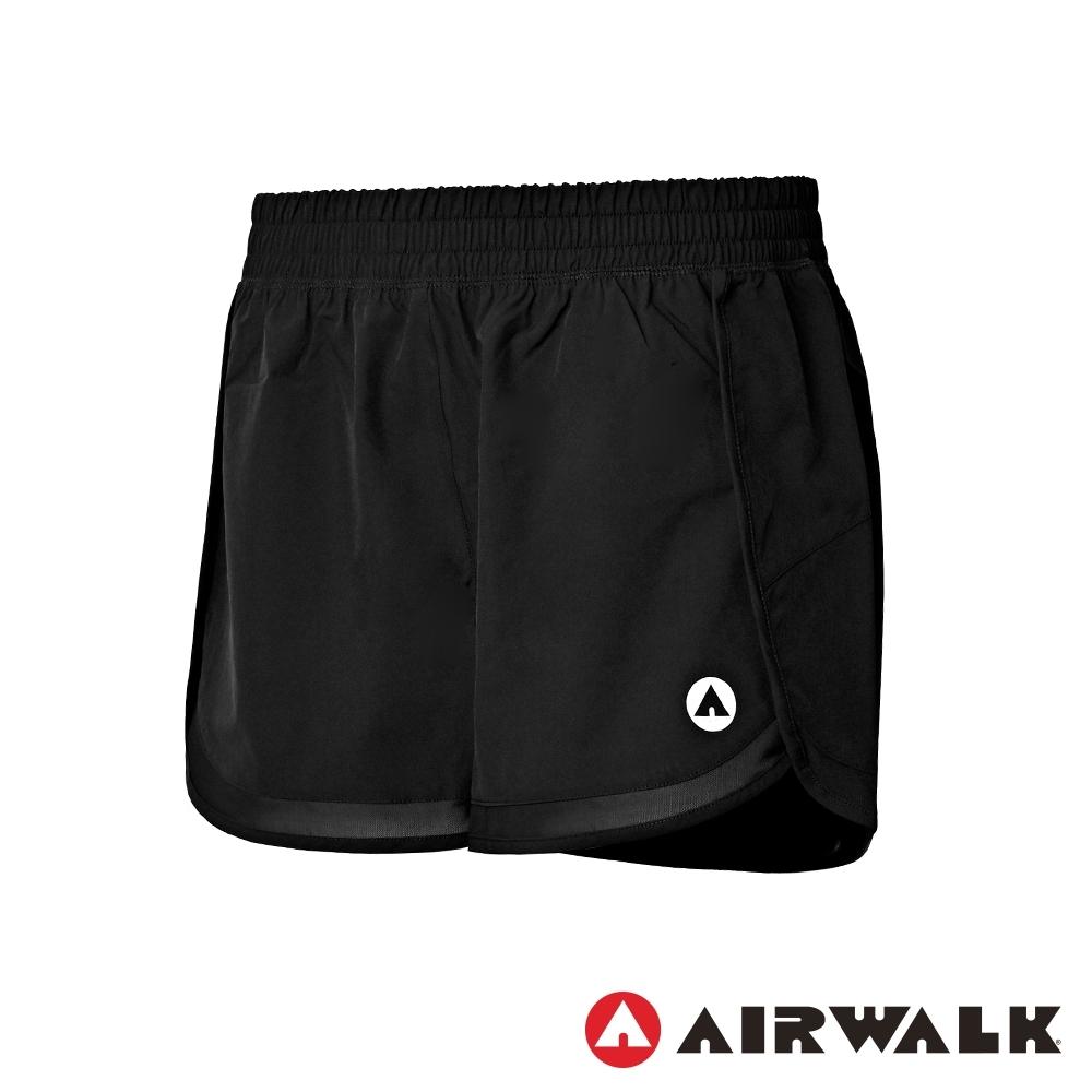 【AIRWALK】彈性平織短褲-女-黑