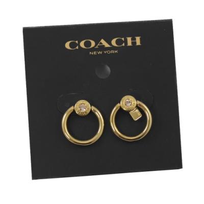 COACH 水鑽裝飾圓圈型環狀耳針式耳環(金)