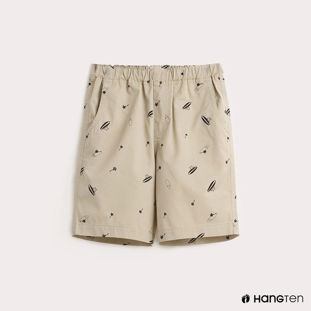 Hang Ten-童裝滿版印花休閒短褲-卡其
