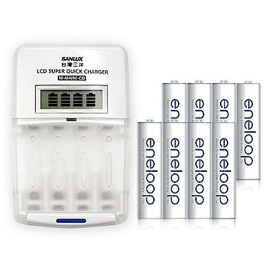 三洋旗艦型充電器+國際牌eneloop低自放3號2000mAh充電電池(8顆入)