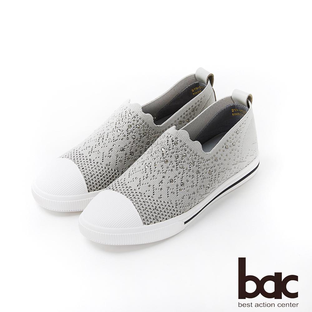 bac週末輕旅行 - 彈力飛織布碎鑽裝飾休閒鞋-灰