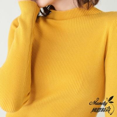 Mandy國際時尚 長袖上衣 氣質簡約半高領長袖針織上衣(12色)