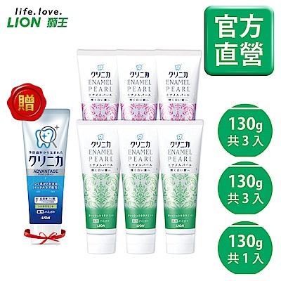 日本獅王LION 固齒佳酵素亮白牙膏 (百花x3/柑橘x3) 6入組 加贈酵素淨護柑橘