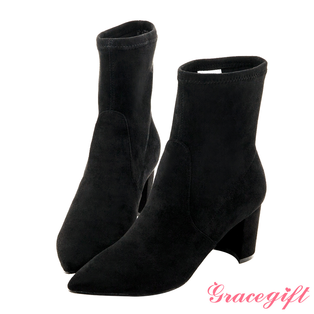 Grace gift-尖頭彈性絨布中跟襪靴 黑
