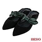 BESO 隨興甜美 蝴蝶結拼接穆勒鞋~黑