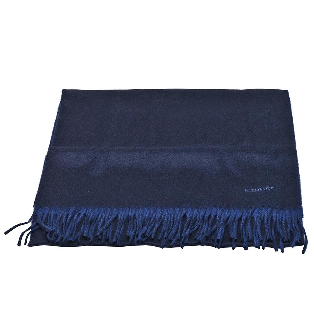 HERMES 經典Recto-Verso系列CACHEMIRE羊毛雙面流蘇圍巾(藍)