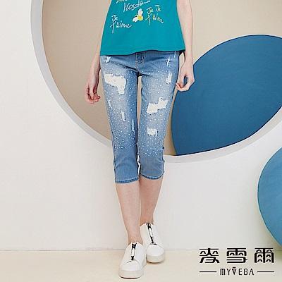 【麥雪爾】棉質淺藍亮鑽七分牛仔褲